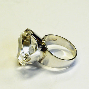 Vintage Silverring with cut rock crystal stone by Salovaara 1973, Finland