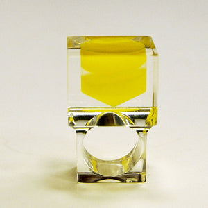 Acrylic vintage ring with square yellow plate by Siv Lagerström 1970`s, Sweden