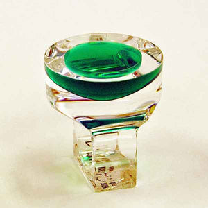 Acrylic vintage ring with circle green plate by Siv Lagerström 1970s, Sweden
