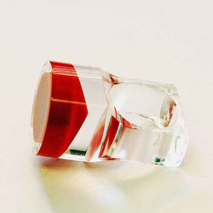Acrylic vintage ring with round red plate by Siv Lagerström 1970s, Sweden