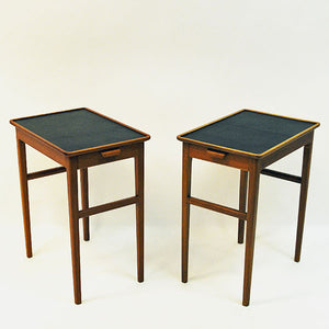 Pair of side tables with leather tops by Bodafors, Sweden 1950`s