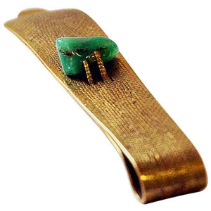 Brass and stone midcentury tie pin in the style of Anna Greta Eker, Norway 1960s