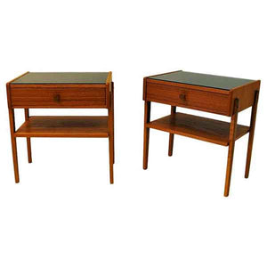 Midcentury pair of Teak and Glas top night tables -Sweden 1960`s