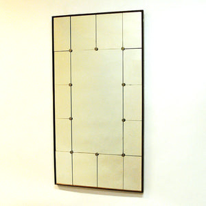 Vintage wood wallmirror with rectangular sections - Sweden 1950`s