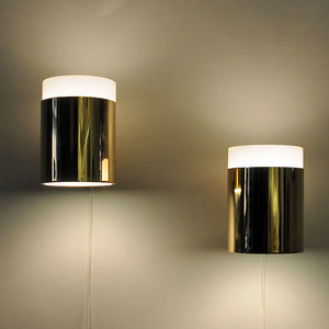 Vintage pair of glass & brass Falkenberg wall lamps, Sweden 1960s