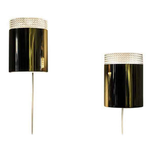 Vintage pair of relieffglass & brass Falkenberg wall lamps, Sweden 1960s