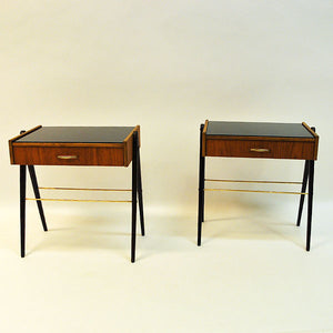 Pair of midcentury Teak and Glas top night tables -Sweden 1960`s
