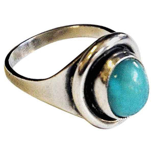 Oval turquoise stone silvering by Sven Holmström 1950s -Sweden