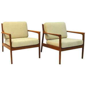 Swedish pair of teak lounge chairs mod USA 75 by Folke Ohlsson for DUX 1960s
