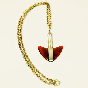 Sterling silver necklace with agate stone pendant by Victor Jansson, Sweden 1970s