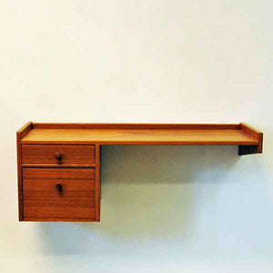 Vintage angleshaped teak shelf  - Sweden 1950s