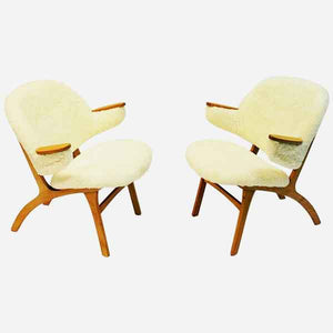 Midcentury pair of Easy chairs in White Sheepskin - Solliden møbler Norway 1950s