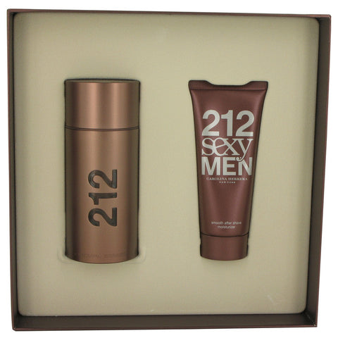 212 Sexy by Carolina Herrera Gift Set -- 3.4 oz Eau De Toilette Spray + 3.4 oz After Shave Moisturizer for Men