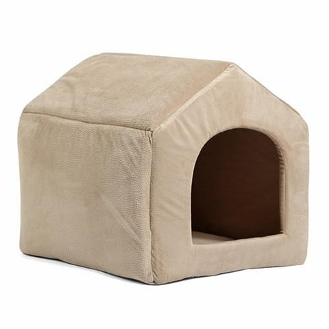 Image of Beige 2 in 1 dog house bed