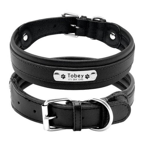 Black personalized leather dog collar