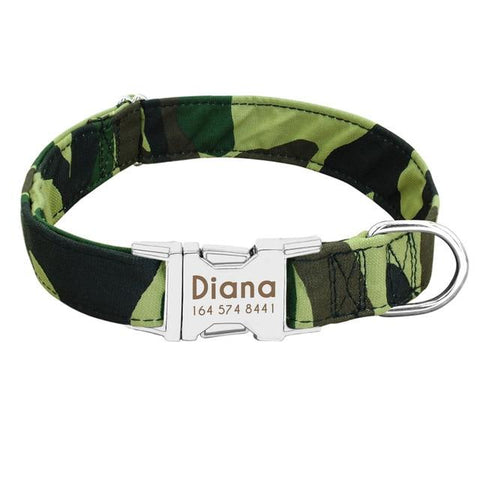 Camouflage personalized custom dog collars