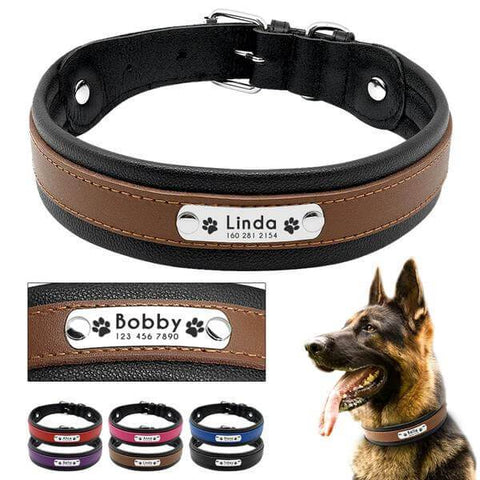 Colored leather personalized dog collar