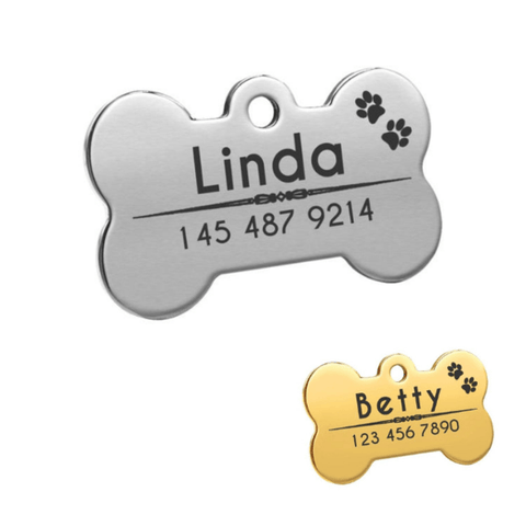 Gold and silver bone shaped dog id tag
