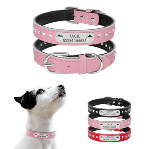 Personalized Leather Dog Collar with Rhinestones