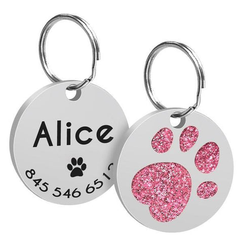 Image of Pink paw printed custom dog id tag