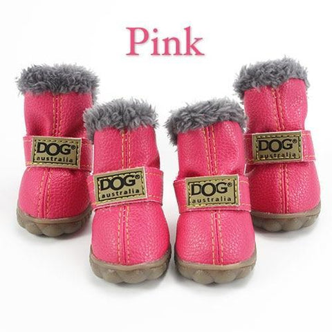 Pink waterproof dog boots