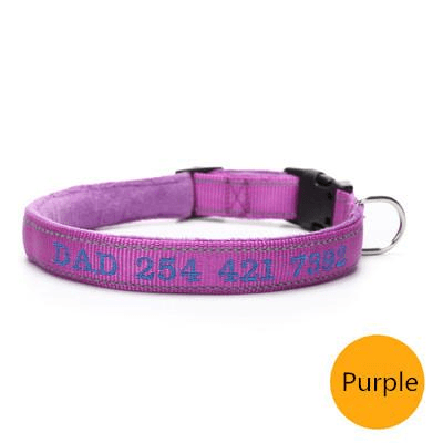 Purple custom embroidered reflective dog collar