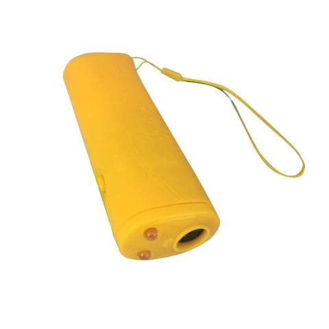 Yellow ultrasound dog repellent and stops barking