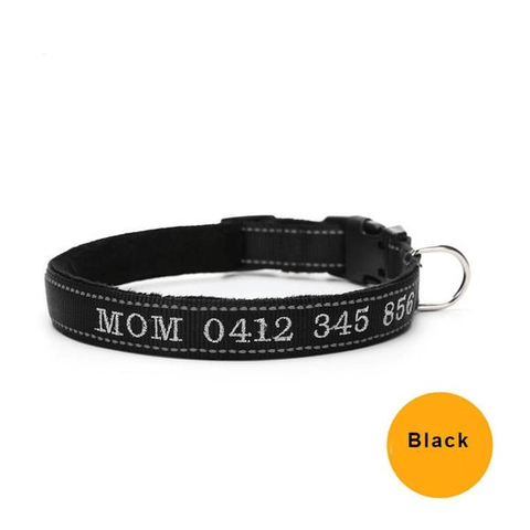 Black custom embroidered reflective dog collar