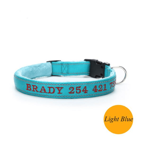 Blue custom embroidered reflective dog collar