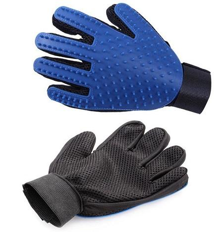 Blue dog grooming glove