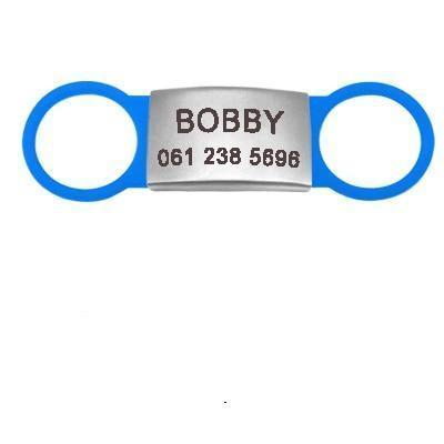 blue flat dog id name tag