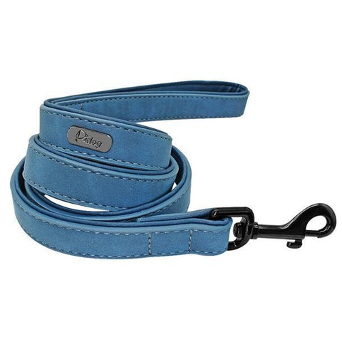 Blue padded leather dog leash