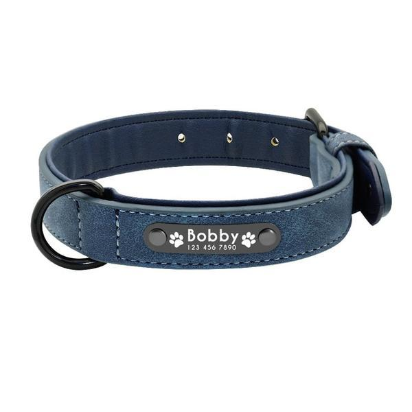 Blue padded leather personalized custom dog collar id