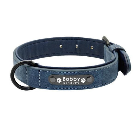 Image of Blue padded leather personalized custom dog collar id