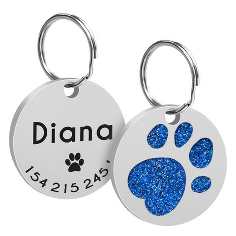 Image of Blue paw printed custom engraved dog id tag