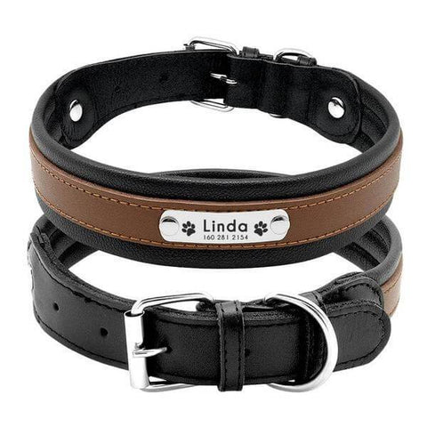 Brown personalized leather dog collar