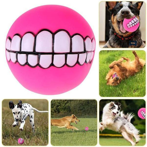 Image of Amuse yourself with funny teeth dog fetch ball