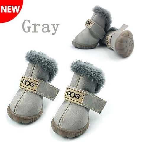 Gray cotton waterproof dog boots
