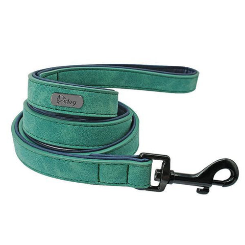 Image of Green padded leather dog leash