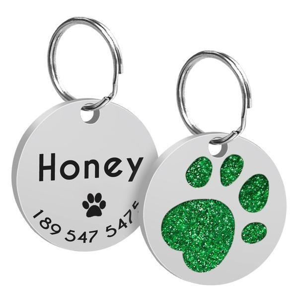 Green paw printed custom dog id tag