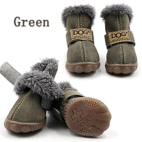 Green waterproof dog boots