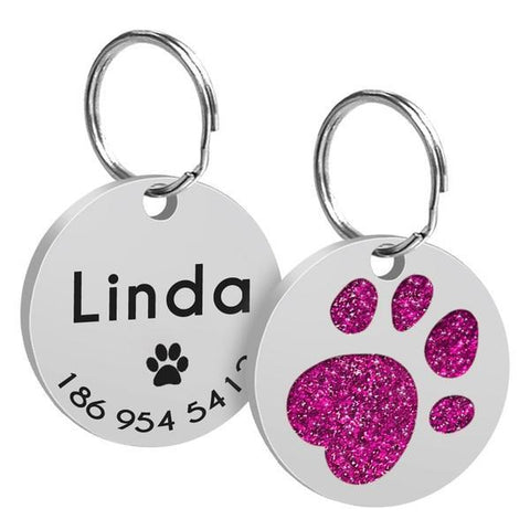 Image of Hot pink paw printed custom engraved id tag
