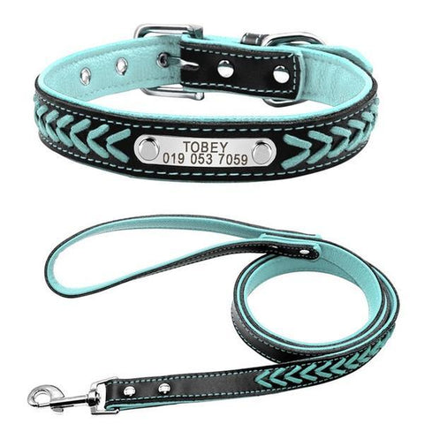 Light Blue personalized dog collar and leash
