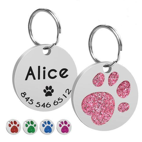 Image of Paw printed custom dog id tags