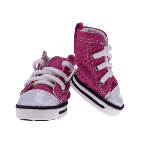 pink denim dog sneakers