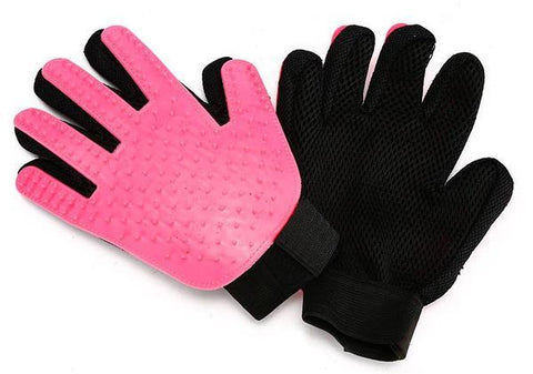 Image of Pink dog grooming glove