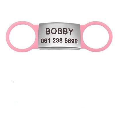 pink flat dog id name tag