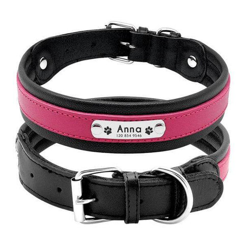 Pink personalized leather dog collar