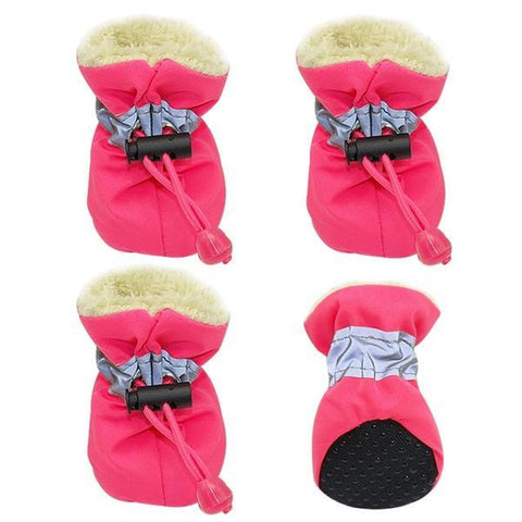 Pink waterproof dog booties