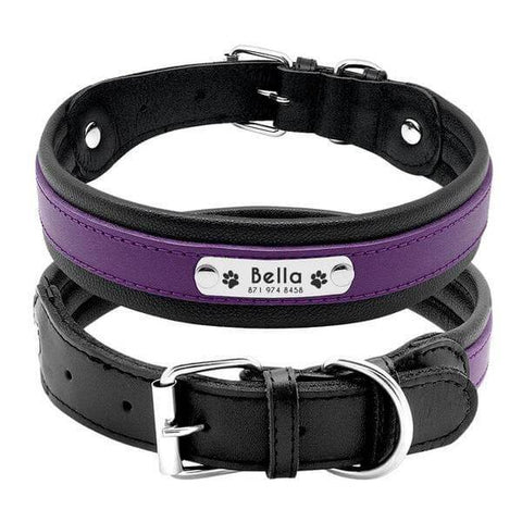 Purple personalized leather dog collar